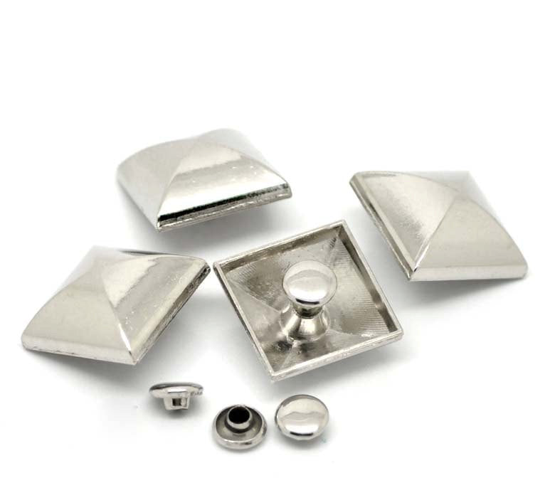 "5 Silver Large Square Stud Rivets Spikes - 18mm x 18mm (3/4"" x 3/4"") - Metal"