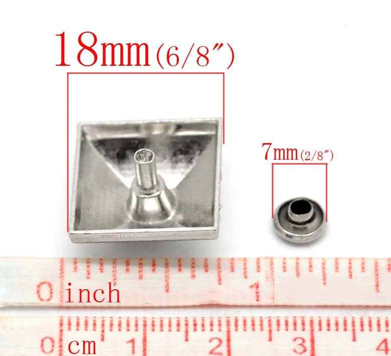 "10 Silver Large Square Stud Rivets Spikes - 18mm x 18mm (3/4"" x 3/4"") - Metal"