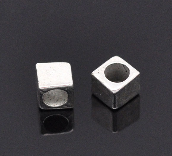 10 Silver Slider Spacer Beads - 4mm x 4mm
