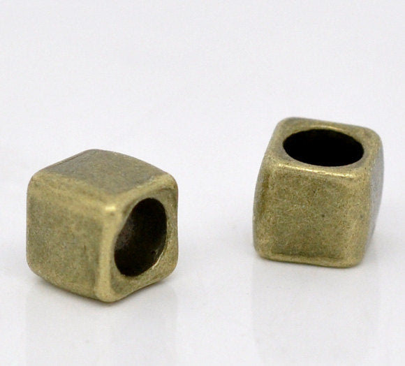 10 Antique Bronze Slider Spacer Beads - 6mm x 6mm -  Antiqued Bronze Slider Bead for Leather Cord or Bracelet (B12940)