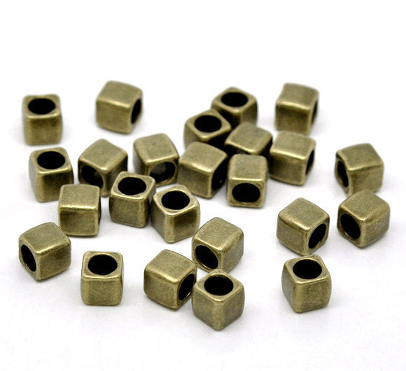 5 Antique Bronze Slider Spacer Beads - 6mm x 6mm -  Antiqued Bronze Slider Bead for Leather Cord or Bracelet (B12940)