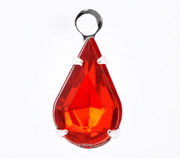 2 Silver Plated Rhinestone Faceted Teardrop Charm or Pendant - 13mm x 6mm - Red Rhinestones -