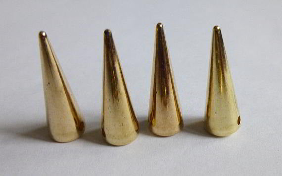 25 Gold Rivet Stud Spikes - 20mm x 6mm - Sew on - Glue on -  Acrylic - Rivets Studs Spike