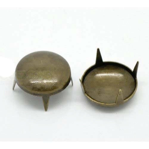 "50 Antique Bronze Cone Rivet Stud Spikes -13mm (1/2"") - Round Dome - Metal - 4 Legs"
