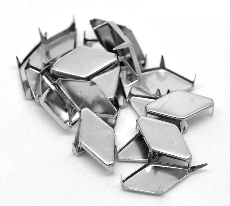 "100 Silver Rivet Stud Spikes - Rhombus Diamond Shape - 17mm x 9mm (5/8"" x 3/8"")"