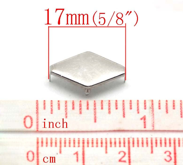 "50 Silver Rivet Stud Spikes - Rhombus Diamond Shape - 17mm x 9mm (5/8"" x 3/8"")  - Metal - Rivets Studs Spike (B19035)"