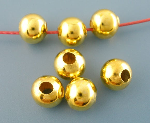 50 Gold Plated Round Smooth Beads - 10mm - Lead Nickel Free