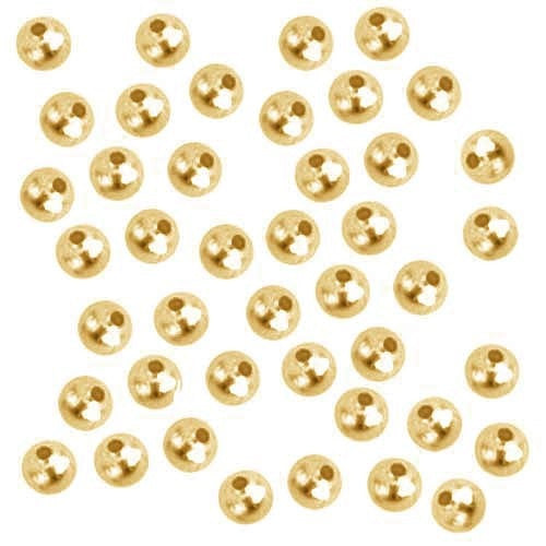 1000 Gold Plated Round Smooth Beads - 3mm - Gold Spacer Bead (01091)