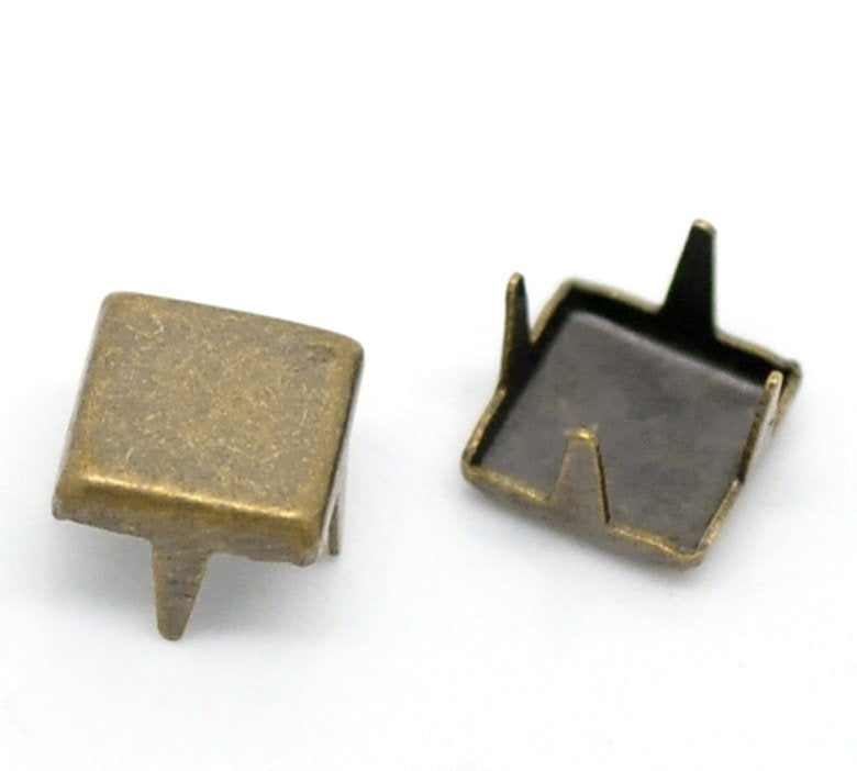 "500 Antique Bronze square Rivet Stud Spikes - 6mm (1/4"" x 1/4"") - Metal - 4 Legs - Rivets Studs Spike (B18732)"