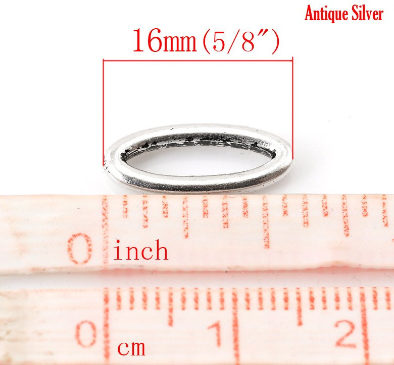 "10 Antique Silver Oval Connector Charms - 16mm x 7mm ( 5/8"" x 2/8"") - Silver Connectors (B21717)"