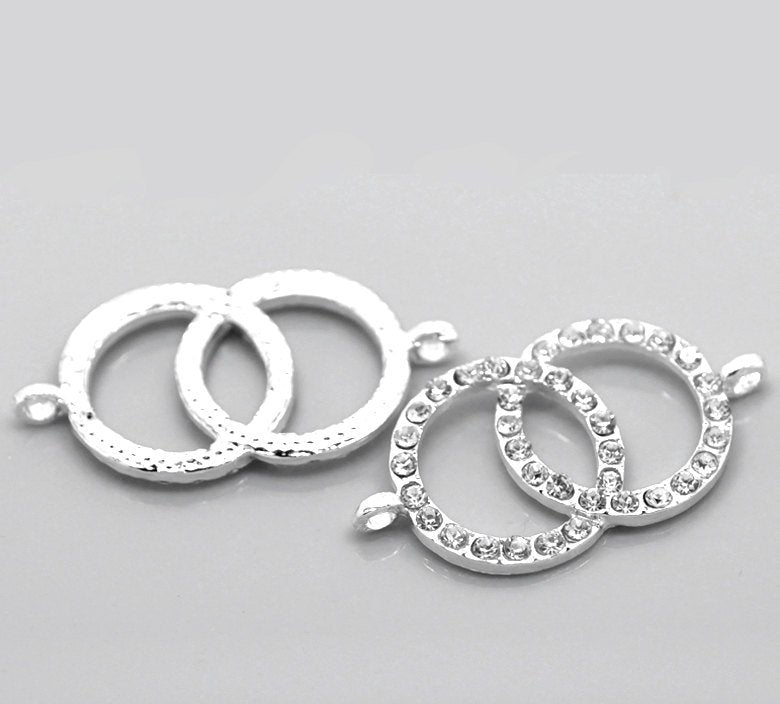 "5 Rhinestone Double Dual Ring Connector Charm - Silver Finish - Crystal Rhinestones - 4.2cm x 2.2cm (1 5/8""x7/8"")  (20858)"
