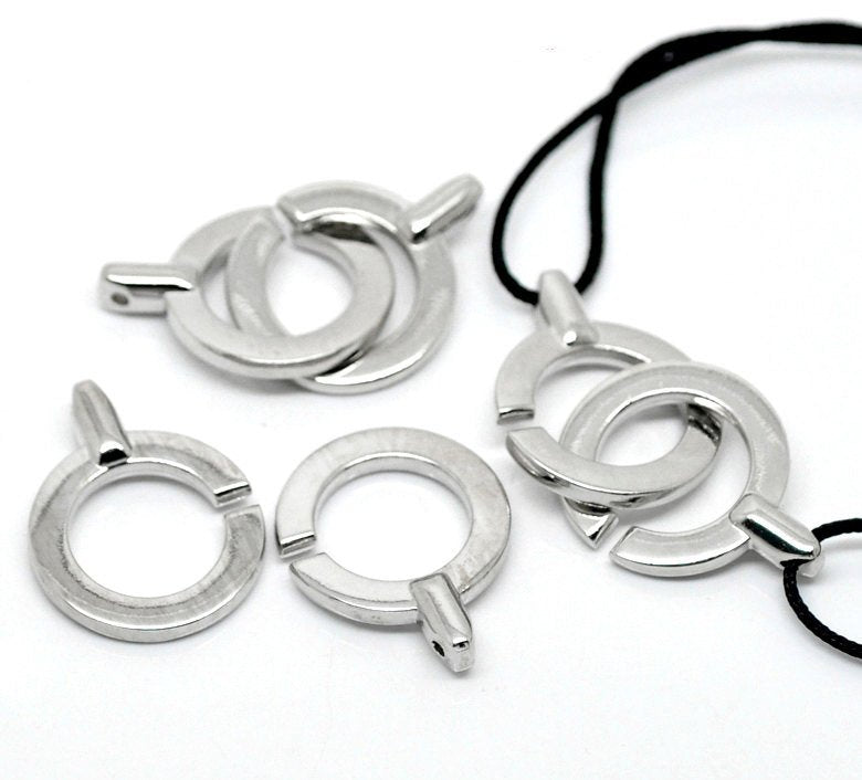 "5 Silver Toggle Clasps - 5.2cm x 2.4cm (2""x1"") -  Silver Toggle Clasp for Leather Cord or Bracelet (18864)"