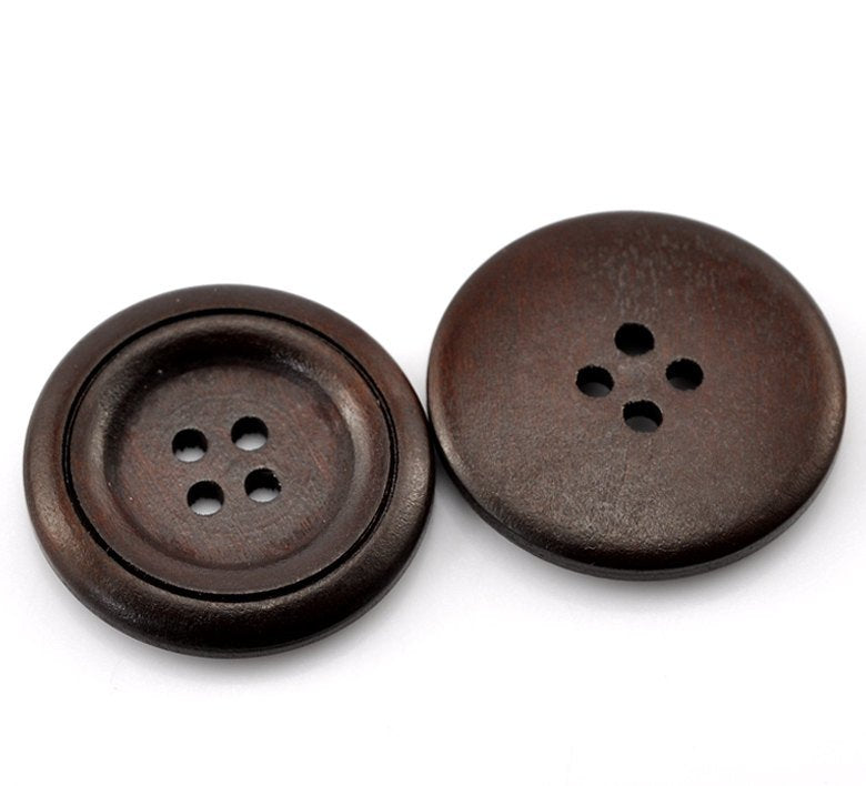 "10 Dark Brown Coffee Wooden Buttons - 30mm (Approx. 1 1/8"" inch)  - 4 Hole - Wood Button  (21382)"