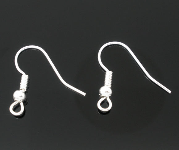 25 Pair Silver Plated Ear Wires - 18mm x 18mm
