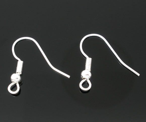 25 Pair Silver Plated Ear Wires - 18mm x 18mm - Earring Hooks (06142)