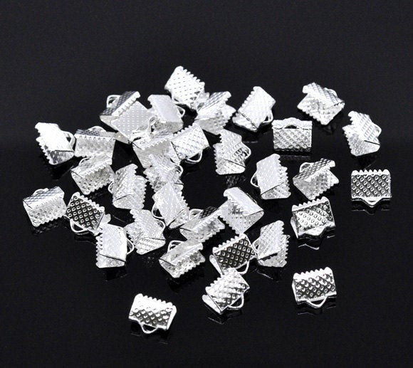 50 Silver End Cap Crimp Beads -  8mm x 8mm -  Silver Ribbon End