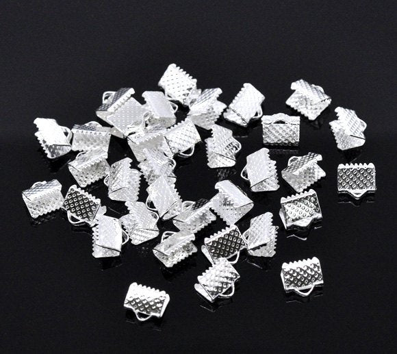 50 Silver End Cap Crimp Beads -  8mm x 8mm -  Silver Ribbon End - Lead Nickel Free (12661)
