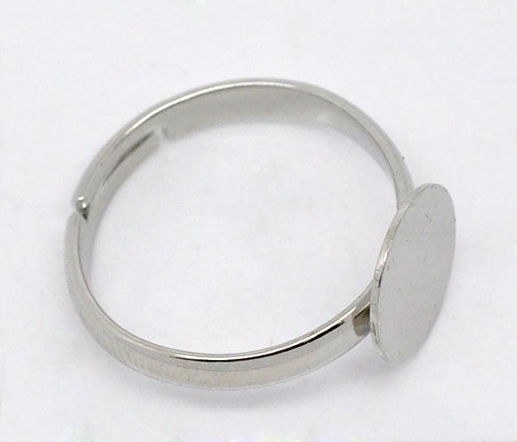 20 Adjustable Ring Base - Silver Finish - Lead Nickel Free -  18mm - Pad 10mm