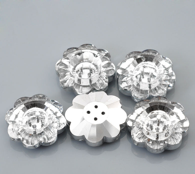 "5 Acrylic Silver Plated Buttons - 25mmx 24mm (1"" x 1"")  - Flower Shaped - Silver Plated Back"