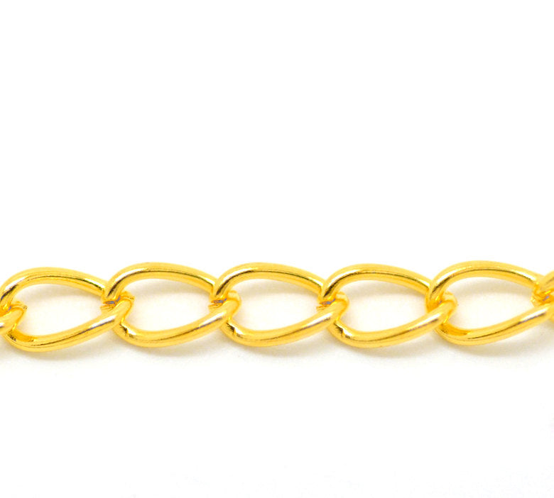 Gold Plated Curb Chain 2M (6.5 Feet) - 8mm x 5mm - Metal  (00786)