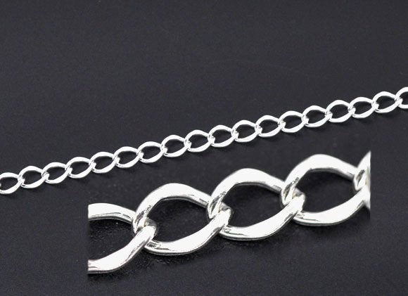 Silver Plated Curb Chain 2M (6.5 Feet) - 11.5mm x 8.5mm - Metal - Lead Nickel Free (09337)