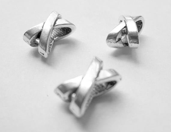 5 Silver Slider Spacer Beads - 10mm x 7mm -  Silver Slider Bead for Leather Cord or Bracelet (23895)