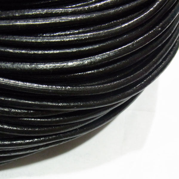 1M (39 inches) Black Leather Cord -  4mm Thick - Genuine Leather Cord for Bracelet or Necklace (03279)