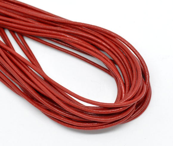 2M (6.5 Feet) Red Leather Cord -  2mm Thick