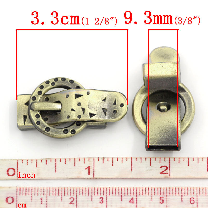 2 Antique Bronze Magnetic Buckle Clasp - 3.3cm x 2.2cm (1 1/4 Inch) -  Antiqued Bronze Buckle Clasp for Flat Leather Cord (23942)