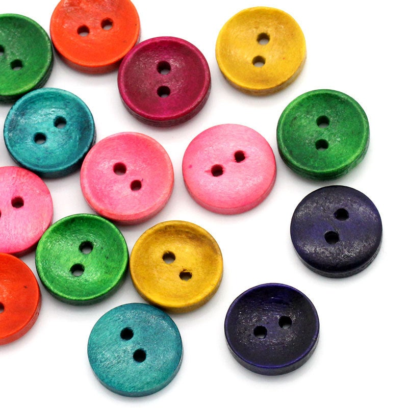 50 Mixed Color Wooden Buttons - 15mm (5/8 inch) -  Earth Tones - 2 Hole