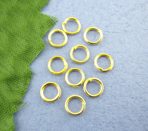 100 Gold Plated Jump Rings - 5mm x 0.7mm  - Jump Rings Gold - Lead Nickel Free (00255)