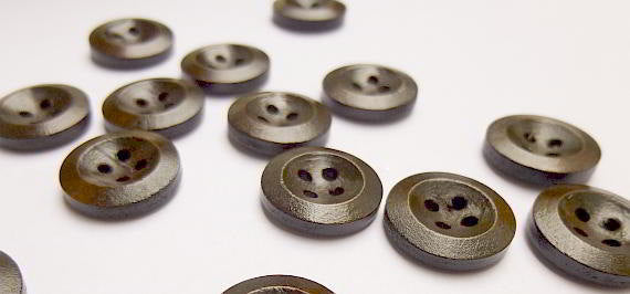 100 Dark Brown Coffee Wooden Buttons - 15mm - 4 Hole - Wood Button (24209)