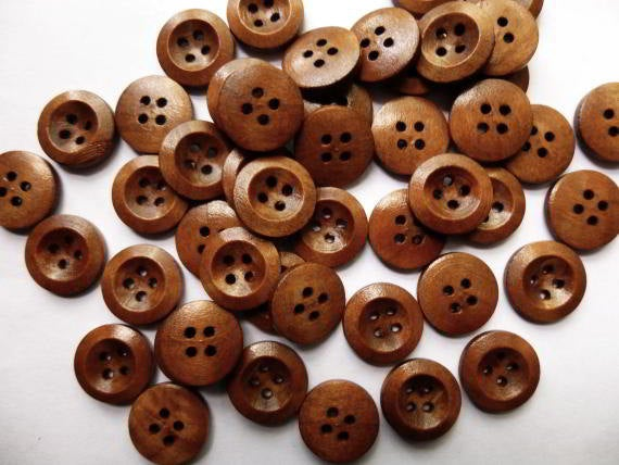 10  Brown Wooden Buttons - 15mm - 4 Hole