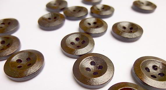 25  Dark Brown Coffee Wooden Buttons - 15mm - 4 Hole - Wood Sewing Button (24209)