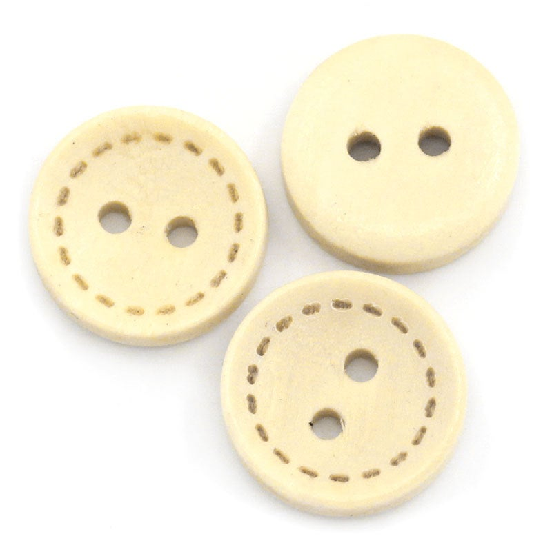 10 Natural Wooden  Buttons - Stich Design - 13mm (1/2 inch) -  2 hole