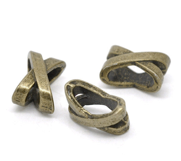 20 Bronze Slider Spacer Beads - 10mm x 7mm -  Bronze Slider Bead for Leather Cord or Bracelet (13445)