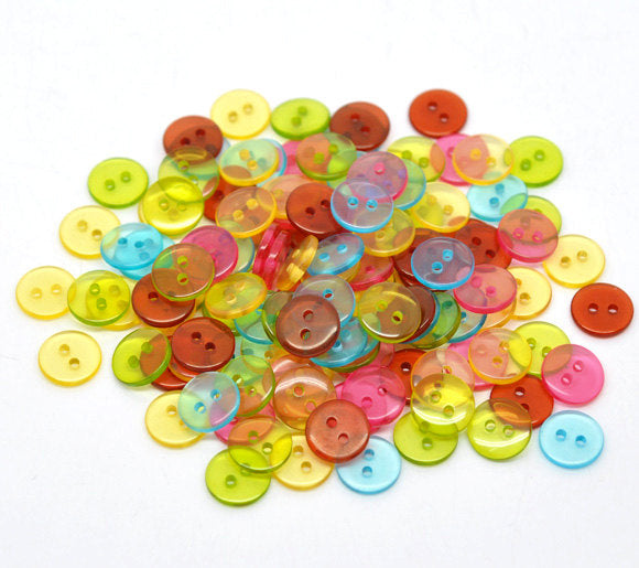 100 Mixed Color Acrylic Buttons - 11mm -  2 Hole - Mixed Transperant Resin Button (14137)