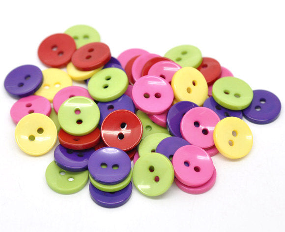 50 Mixed Color Acrylic Buttons - 15mm -  2 Hole - Mixed Resin Button (14222)
