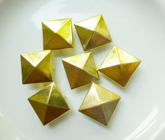 25 Large Gold Rivet Stud Spikes - 25mm (1 inch) - 4 legs