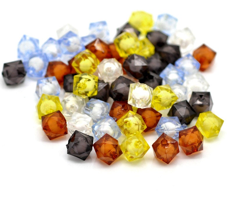 "50 Faceted Acrylic Cube Beads - 10mm (3/8"")"