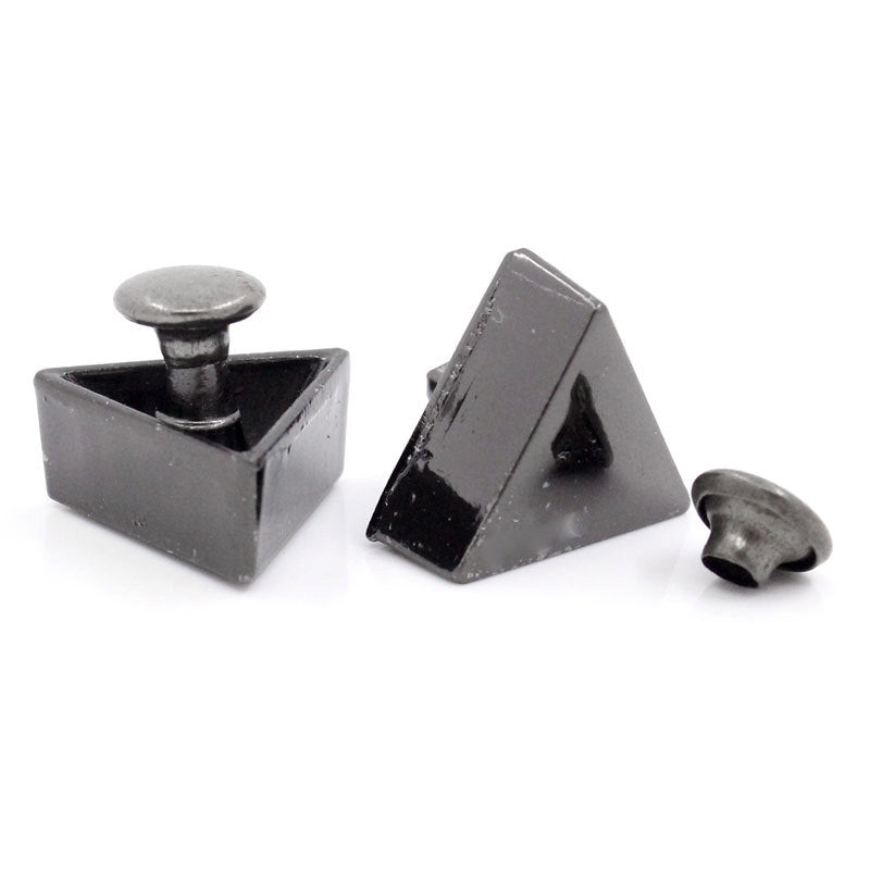 "5 Black Triangle Rivet Stud Spikes - 15mmx13mm (5/8"" x 4/8"") - Metal - Rivets Studs Spike (25591)"