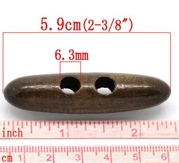 5 Large Toggle Wooden Buttons - Dark Brown Finish -  5.9cm x 1.5cm (2 3/8 inch)