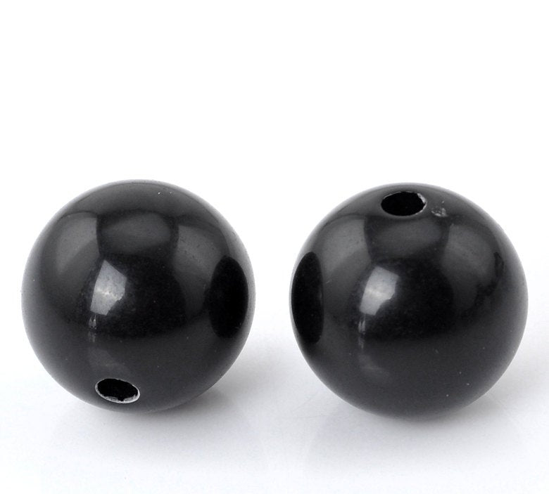 50 Resin Black Spacer Ball Beads 14mm (20892)