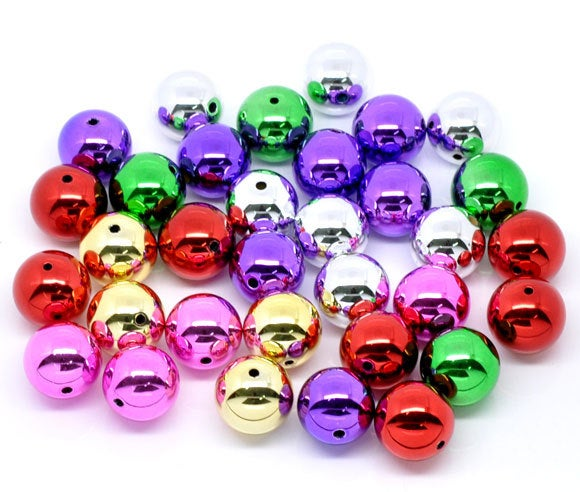 50 Large Metallic Mixed Color Round Smooth Beads - 20mm - Acrylic