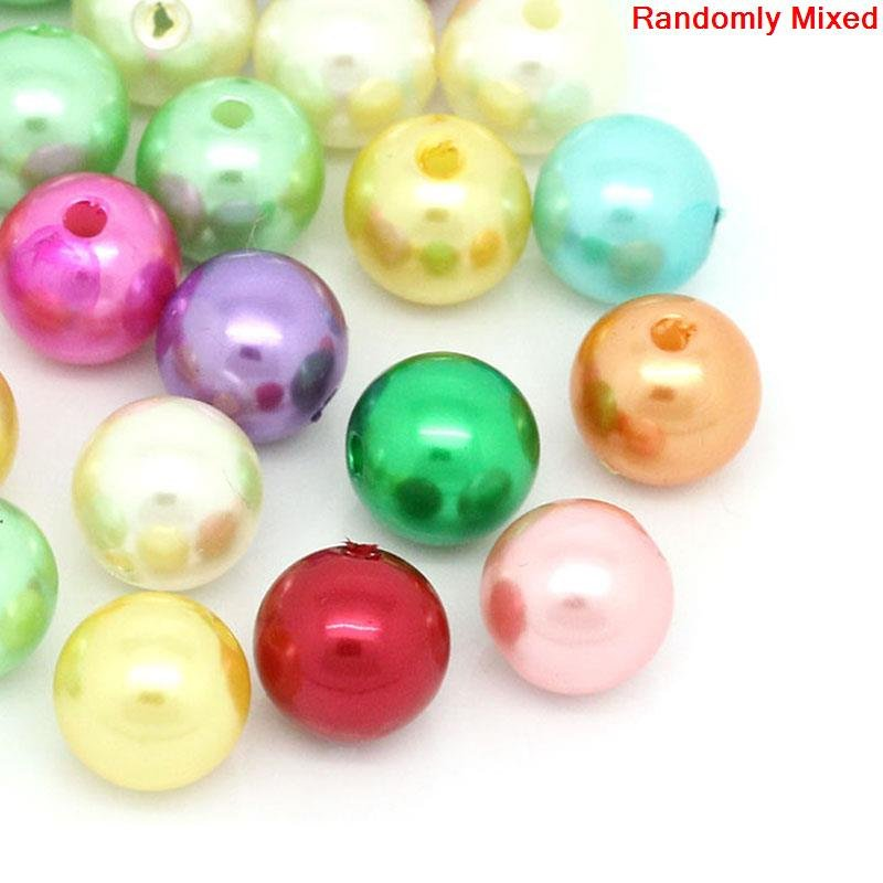 50 Imitation Pearl Spacer Beads -  Acrylic  - 10mm - Faux Pearls - Assorted Colors (27437)