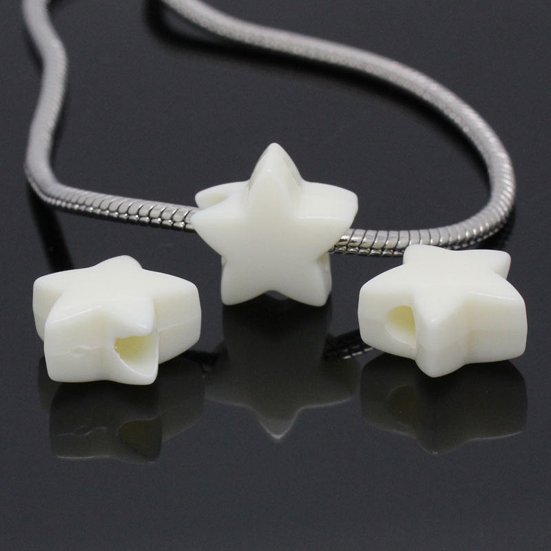 "10 White Acrylic Star Charms Pendant - 18mm (3/4"" x 3/4"") - Star Shaped"