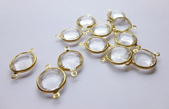 "10 Rhinestone Connector Charm - Gold Finish - Crystal Rhinestones - 19mm x 15mm (3/4"" x 5/8"") (Y38E5D)"