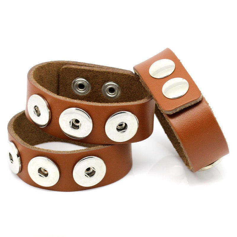 "1 Chunk Noosa Brown Leather Bracelet -  24cm x 2.4cm (91/2"" x 1"") - Popper Snap on"