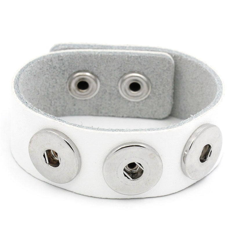 "1 Chunk Noosa White Leather Bracelet -  24cm x 2.4cm (91/2"" x 1"") - Popper Snap on"