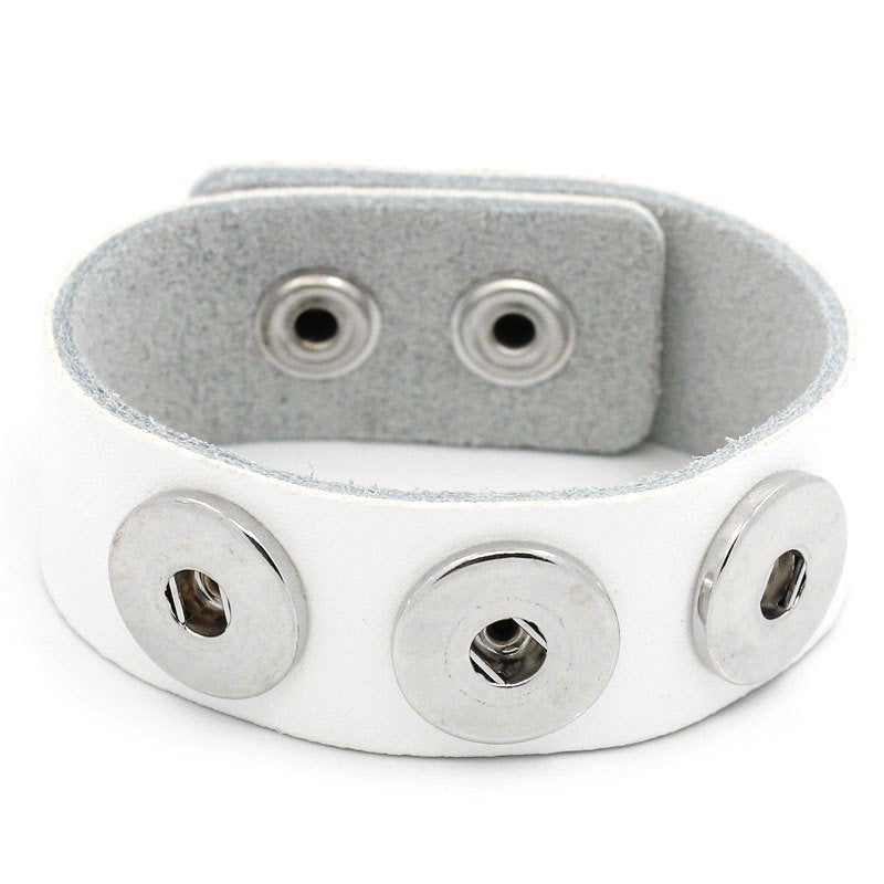 "1 Chunk Noosa White Leather Bracelet -  24cm x 2.4cm (91/2"" x 1"") - Popper Snap on - Genuine Leather Chunk Bracelet (27913)"